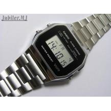 Casio A158WEA-1EF.Damski/męski zegarek na bransolecie.